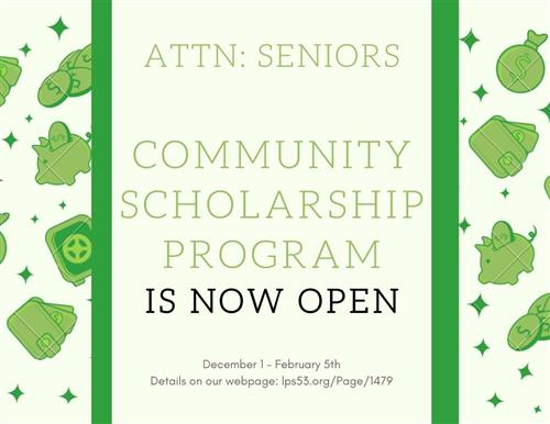 Link to info about the community scholarship program.  Click for more info.