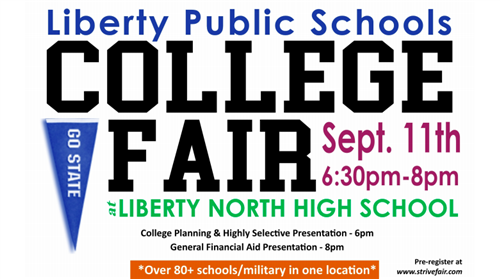 College fair graphic.  All info posted below