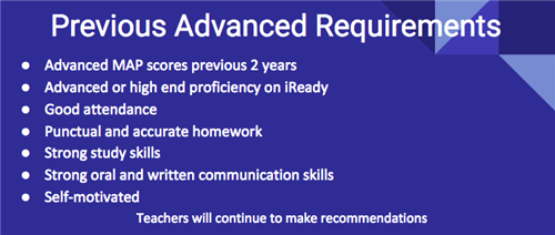 Previous Advanced Requirements